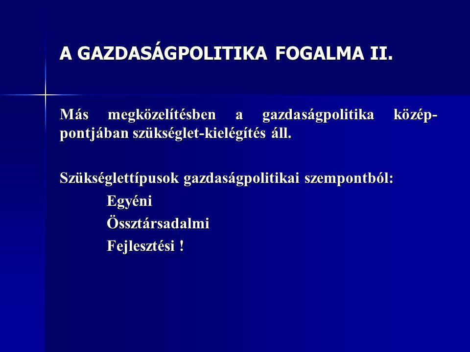 A GAZDASÁGPOLITIKA FOGALMA II.