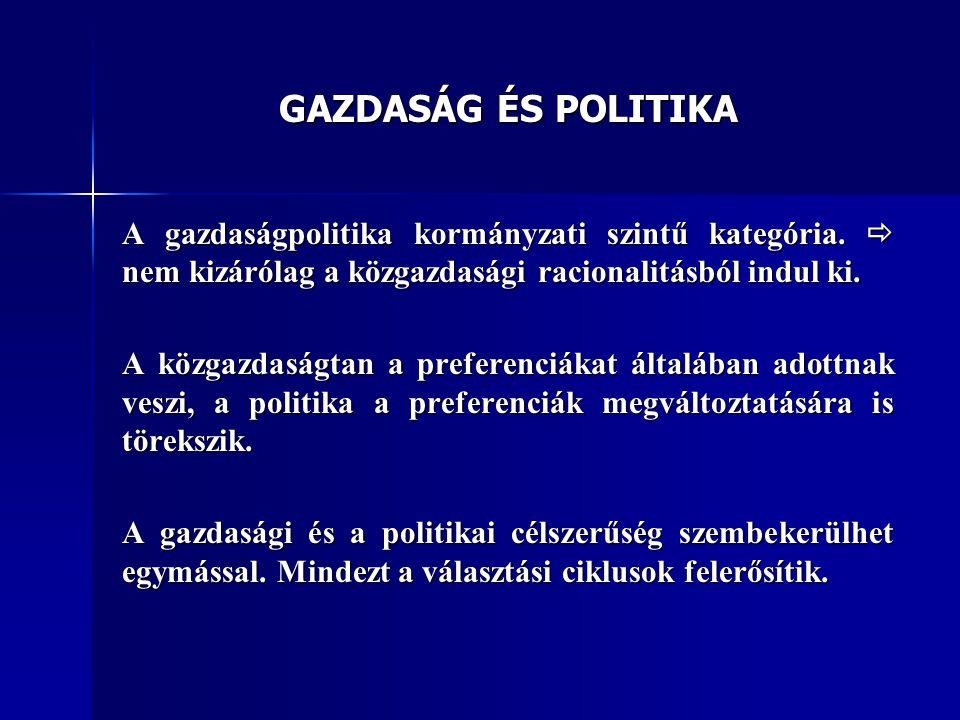 GAZDASÁG ÉS POLITIKA A gazdaságpolitika kormányzati szintű kategória.