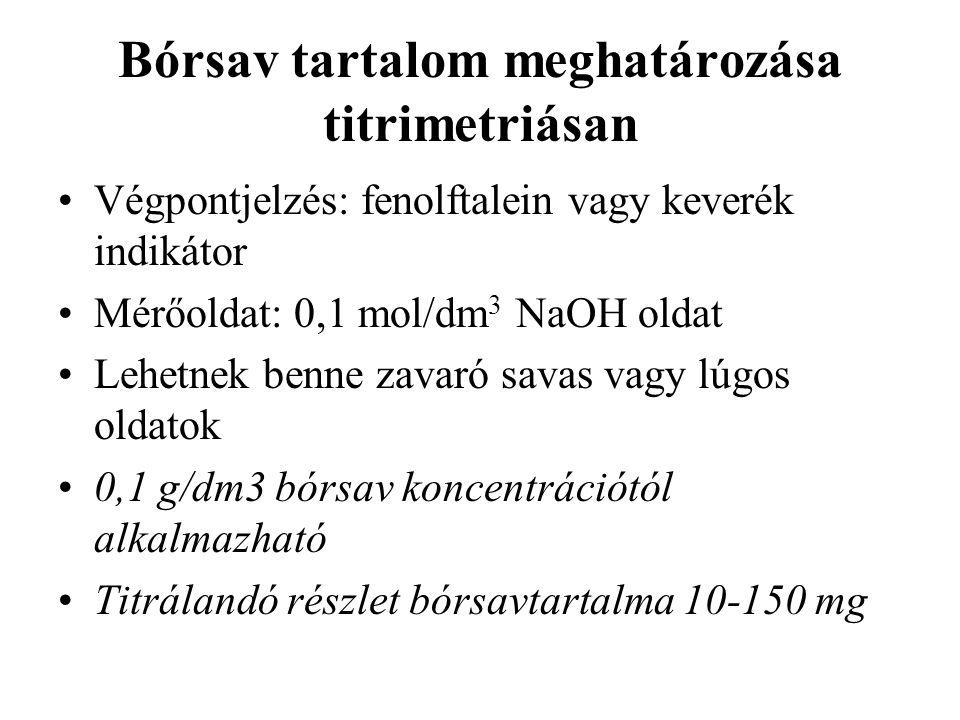 Bórsav tartalom meghatározása titrimetriásan Végpontjelzés: fenolftalein vagy keverék indikátor Mérőoldat: 0,1 mol/dm 3 NaOH oldat Lehetnek benne zavaró savas vagy lúgos oldatok 0,1 g/dm3 bórsav koncentrációtól alkalmazható Titrálandó részlet bórsavtartalma 10-150 mg