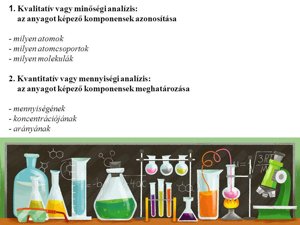 1. Kvalitatív vagy minőségi analízis: az anyagot képező komponensek azonosítása - milyen atomok - milyen atomcsoportok - milyen molekulák 2. Kvantitat