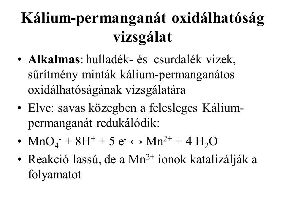 Kálium-permanganát oxidálhatóság vizsgálat Alkalmas: hulladék- és csurdalék vizek, sűrítmény minták kálium-permanganátos oxidálhatóságának vizsgálatára Elve: savas közegben a felesleges Kálium- permanganát redukálódik: MnO 4 - + 8H + + 5 e - ↔ Mn 2+ + 4 H 2 O Reakció lassú, de a Mn 2+ ionok katalizálják a folyamatot