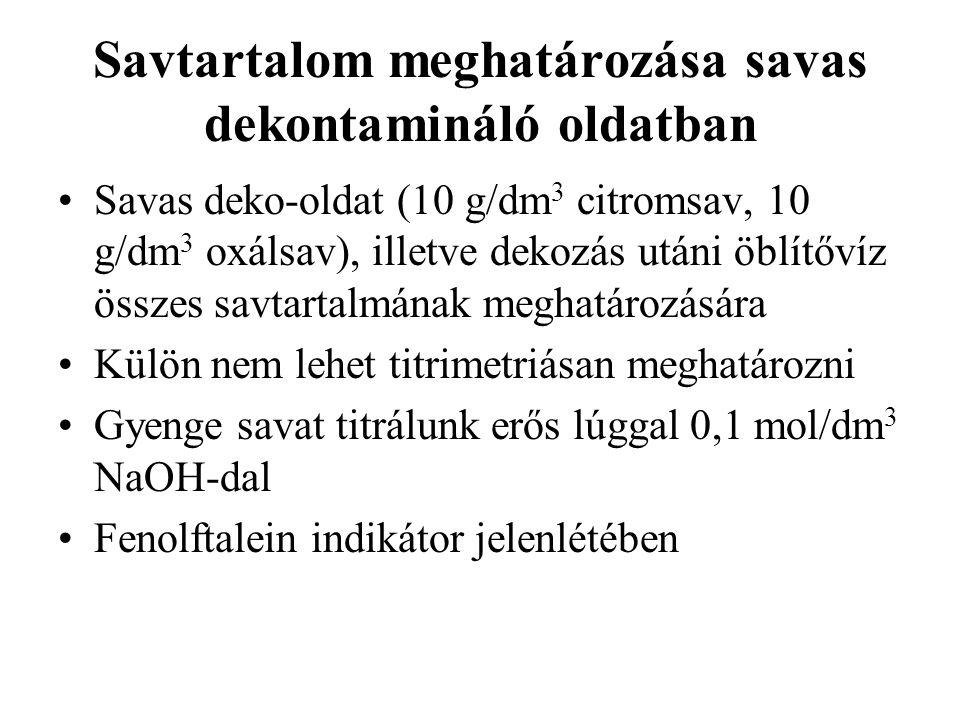 Savtartalom meghatározása savas dekontamináló oldatban Savas deko-oldat (10 g/dm 3 citromsav, 10 g/dm 3 oxálsav), illetve dekozás utáni öblítővíz összes savtartalmának meghatározására Külön nem lehet titrimetriásan meghatározni Gyenge savat titrálunk erős lúggal 0,1 mol/dm 3 NaOH-dal Fenolftalein indikátor jelenlétében