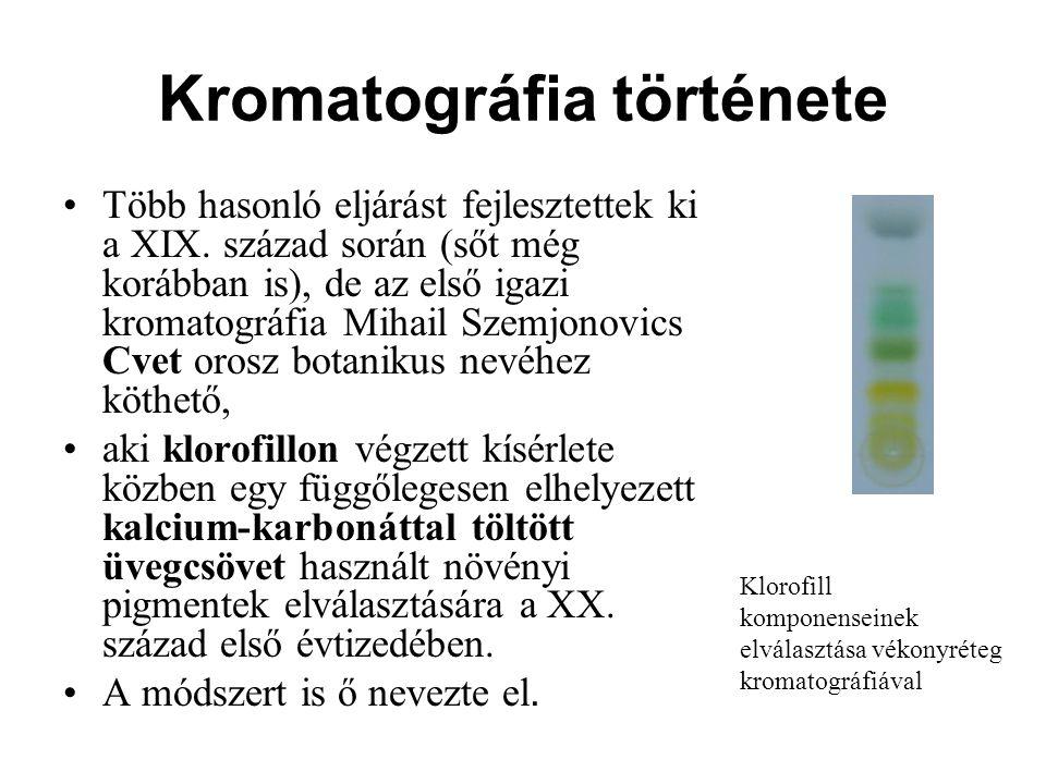 Kromatográfia története Több hasonló eljárást fejlesztettek ki a XIX. század során (sőt még korábban is), de az első igazi kromatográfia Mihail Szemjo