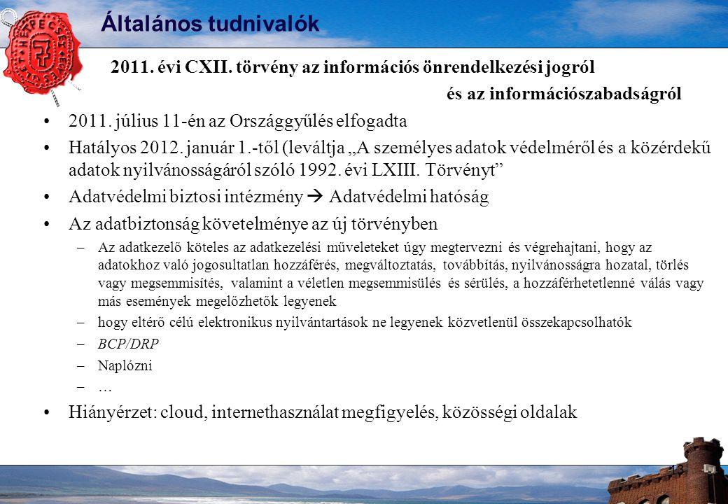 Általános tudnivalók 2011. évi CXII.