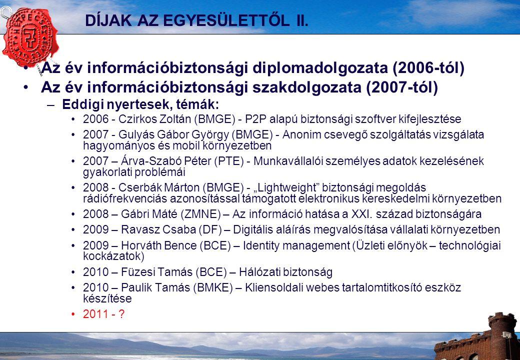 10 A HONLAP: www.hetpecset.hu Nyilvános Hírek Fórum regisztráció Rendezvényeink Alapszabály Belépési nyilatkozat Tagoknak közös hírfigyelés 2007 tavasza óta Információbiztonsági incidensek (338) Szabványos információvédelem (32) Egyéb információbiztonsági események, háttéranyagok (424) Tagoknak közös dokumentumkezelés 2011-től