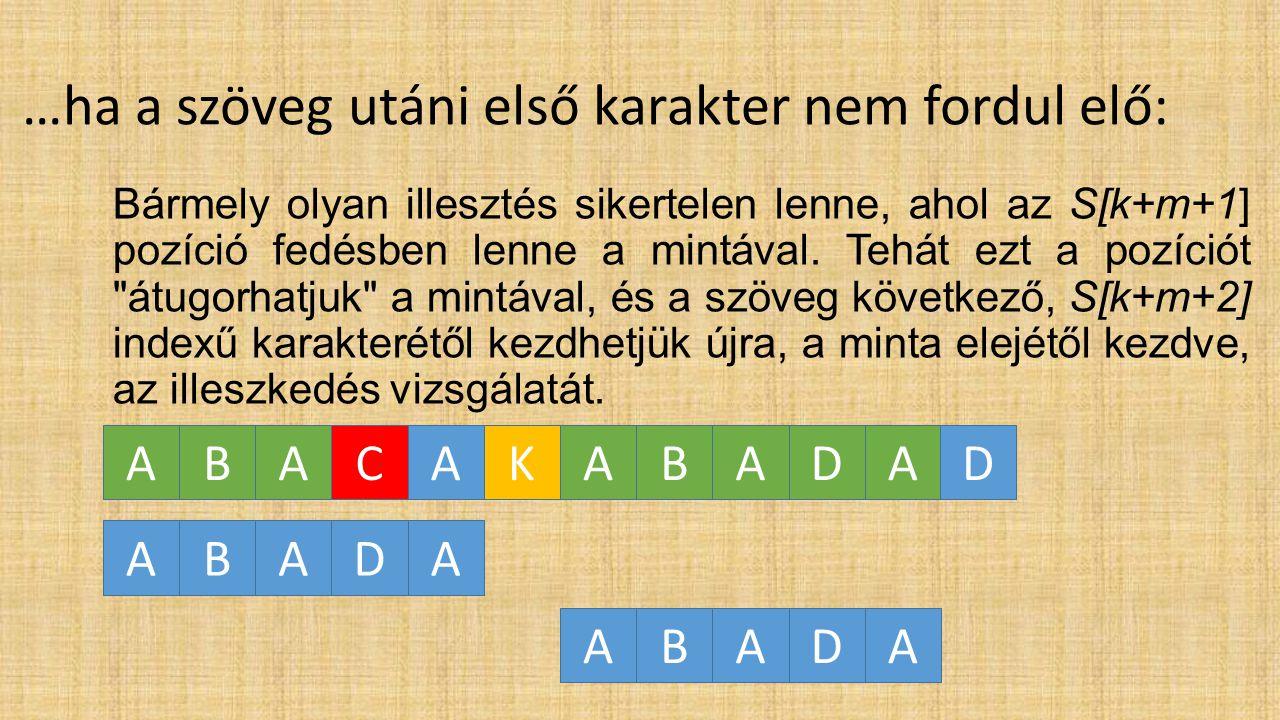 …ha a szöveg utáni első karakter előfordul: Vegyük a mintabeli előfordulások közül jobbról az elsőt (balról, a minta elejétől számítva az utolsót) és annyi pozícióval léptessük jobbra a mintát, hogy ez a mintabeli karakter fedésbe kerüljön a szöveg karakterével, majd a minta elejétől kezdve vizsgáljuk meg újra az illeszkedést.