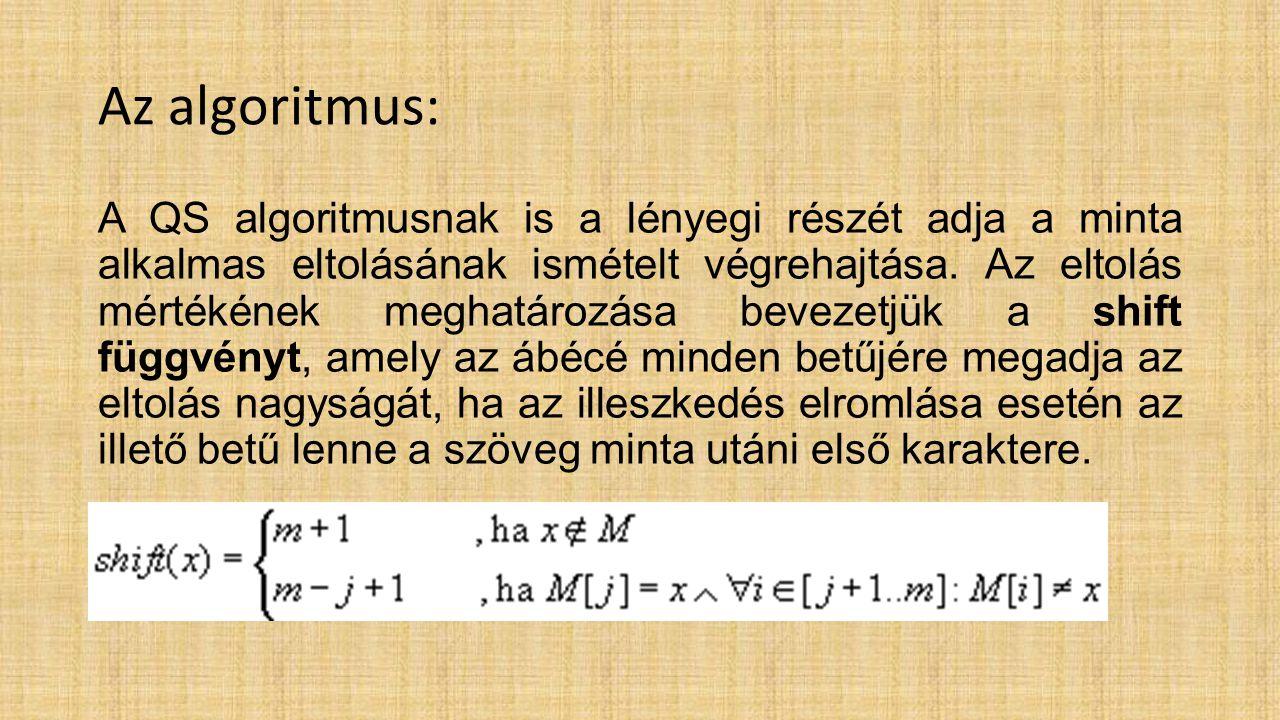 Az algoritmus: A QS algoritmusnak is a lényegi részét adja a minta alkalmas eltolásának ismételt végrehajtása.