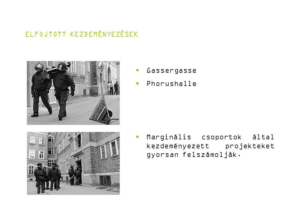 ELFOJTOTT KEZDEMÉNYEZÉSEK Gassergasse Phorushalle Marginális csoportok által kezdeményezett projekteket gyorsan felszámolják.
