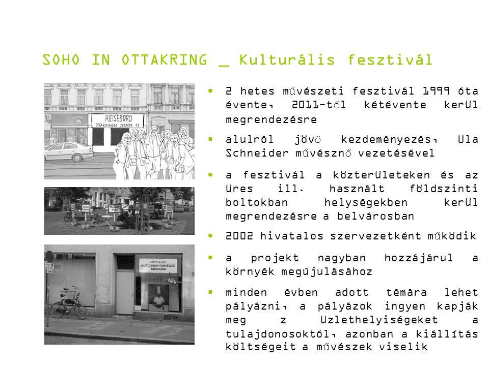 SOHO IN OTTAKRING _ Kulturális fesztivál 2 hetes művészeti fesztivál 1999 óta évente, 2011-től kétévente kerül megrendezésre alulról jövő kezdeményezés, Ula Schneider művésznő vezetésével a fesztivál a közterületeken és az üres ill.