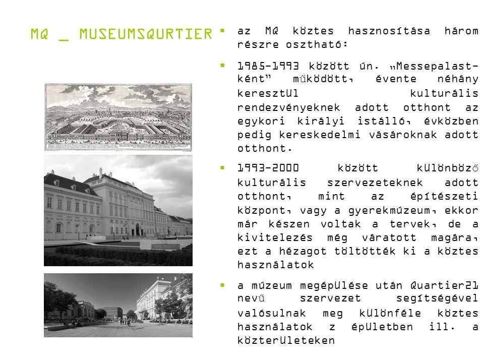 MQ _ MUSEUMSQURTIER az MQ köztes hasznosítása három részre osztható: 1985-1993 között ún.