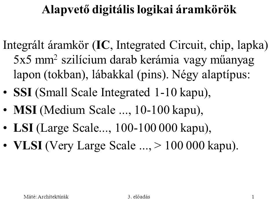 Máté: Architektúrák3. előadás1 Alapvető digitális logikai áramkörök Integrált áramkör (IC, Integrated Circuit, chip, lapka) 5x5 mm 2 szilícium darab k