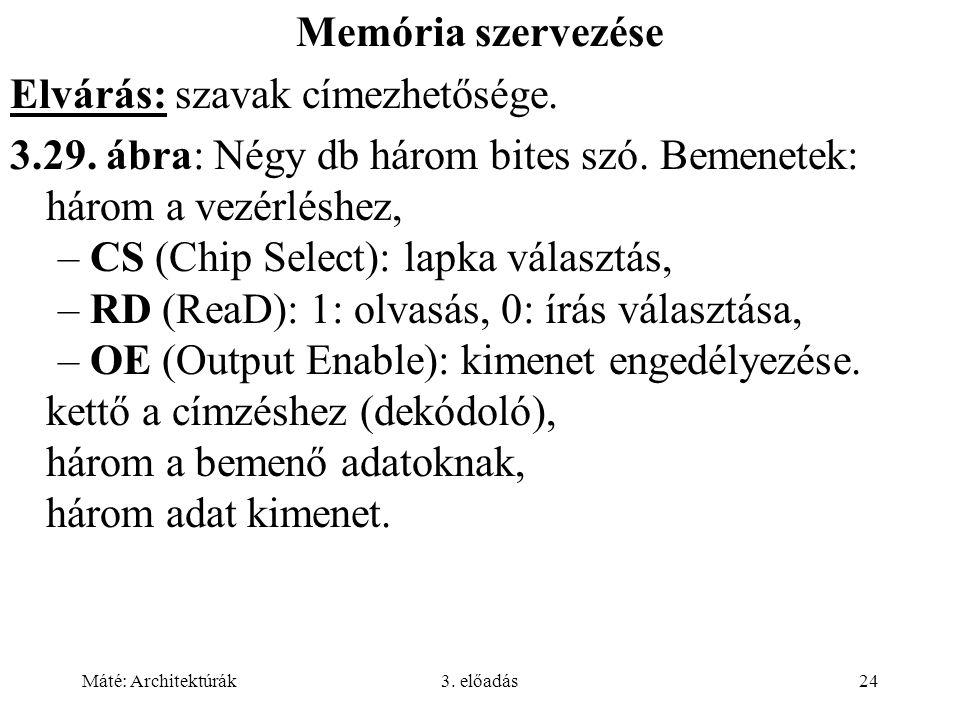 Máté: Architektúrák3. előadás24 Memória szervezése Elvárás: szavak címezhetősége. 3.29. ábra: Négy db három bites szó. Bemenetek: három a vezérléshez,