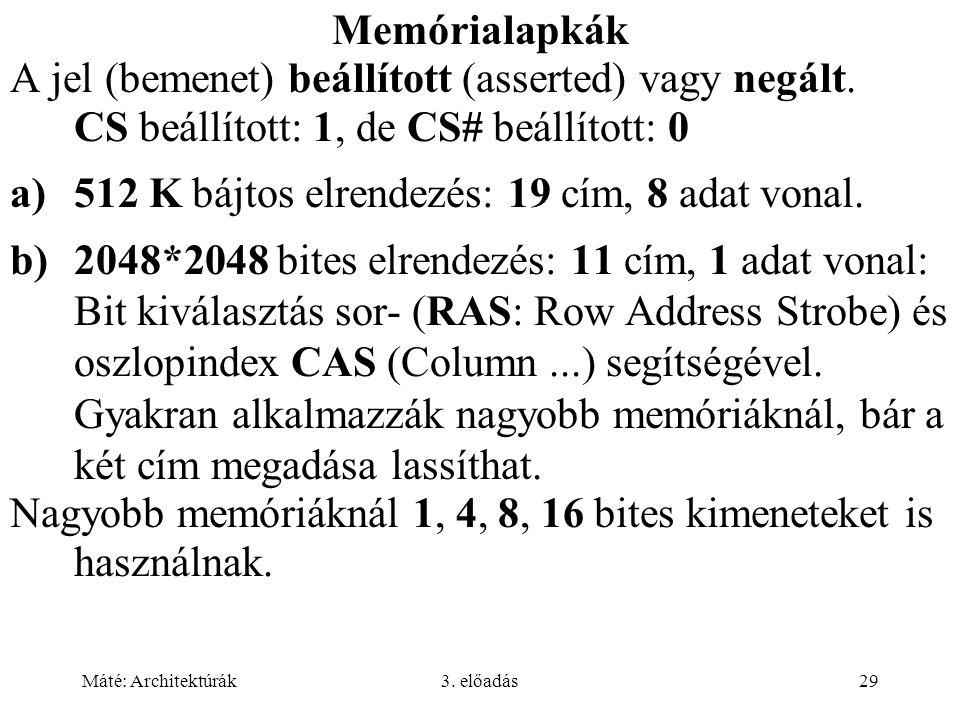 Máté: Architektúrák3. előadás29 Memórialapkák A jel (bemenet) beállított (asserted) vagy negált. CS beállított: 1, de CS# beállított: 0 a)512 K bájtos