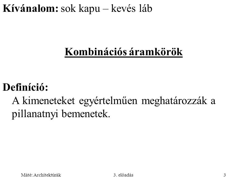 Máté: Architektúrák3.előadás24 Memória szervezése Elvárás: szavak címezhetősége.