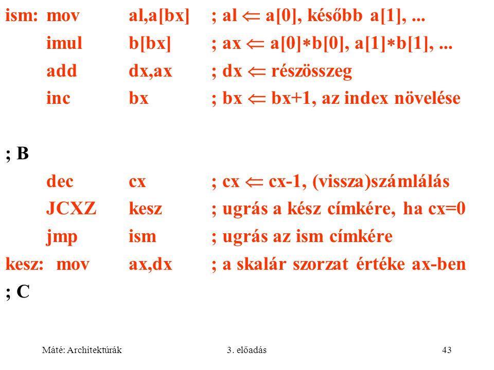Máté: Architektúrák3. előadás43 ism:moval,a[bx]; al  a[0], később a[1],... imulb[bx]; ax  a[0]  b[0], a[1]  b[1],... adddx,ax; dx  részösszeg inc