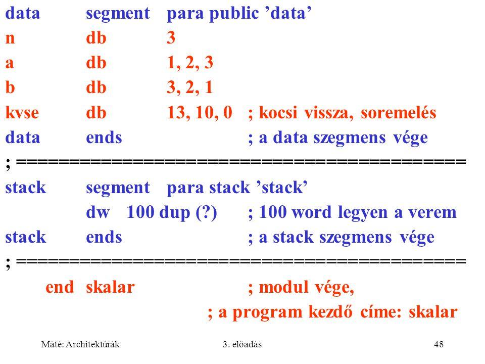 Máté: Architektúrák3. előadás48 datasegment para public 'data' ndb3 adb1, 2, 3 bdb3, 2, 1 kvsedb13, 10, 0; kocsi vissza, soremelés dataends; a data sz