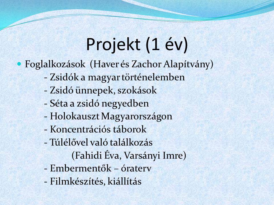 Projekt (1 év) Foglalkozások (Haver és Zachor Alapítvány) - Zsidók a magyar történelemben - Zsidó ünnepek, szokások - Séta a zsidó negyedben - Holokau