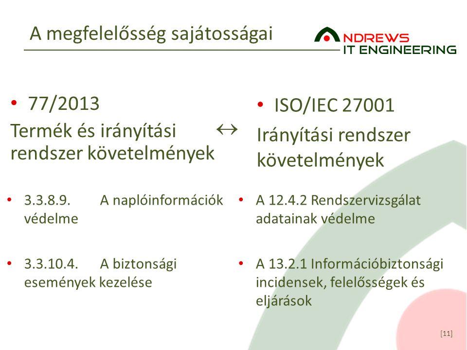 [11] A megfelelősség sajátosságai ISO/IEC 27001 Irányítási rendszer követelmények 77/2013 Termék és irányítási rendszer követelmények  3.3.8.9.A napl