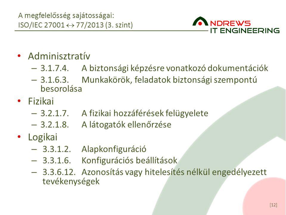 [12] A megfelelősség sajátosságai: ISO/IEC 27001  77/2013 (3. szint) Adminisztratív – 3.1.7.4.A biztonsági képzésre vonatkozó dokumentációk – 3.1.6.3