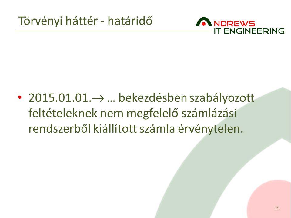 [7] Törvényi háttér - határidő 2015.01.01.  … bekezdésben szabályozott feltételeknek nem megfelelő számlázási rendszerből kiállított számla érvénytel