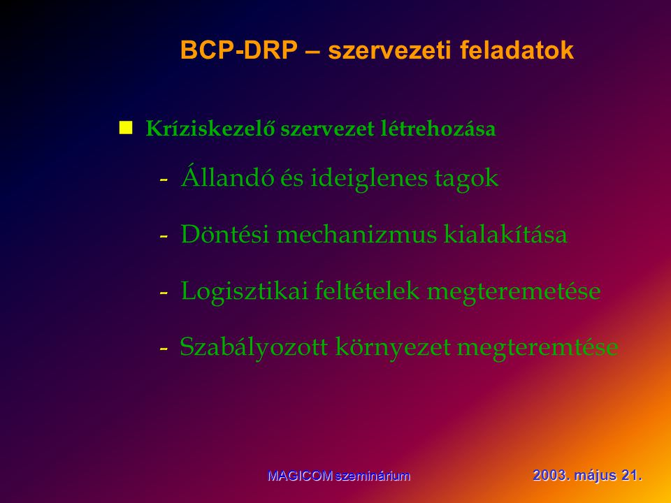 2003. május 21. MAGICOM szeminárium BCP-DRP bevezetés A BCP elkészítése az első lépés csak!.