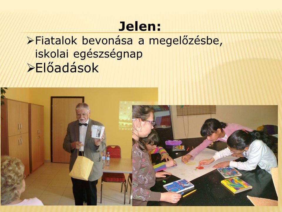 Jelen:  Fiatalok bevonása a megelőzésbe, iskolai egészségnap  Előadások