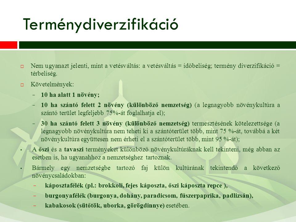Terménydiverzifikáció  Nem ugyanazt jelenti, mint a vetésváltás: a vetésváltás = időbeliség; termény diverzifikáció = térbeliség.  Követelmények: −