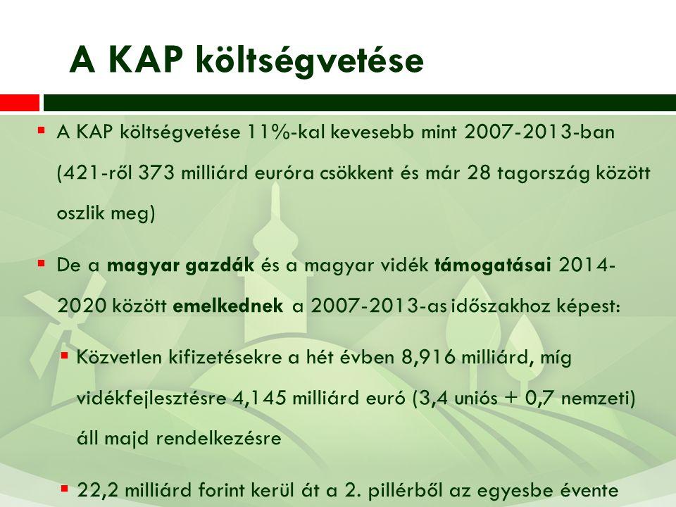  A KAP költségvetése 11%-kal kevesebb mint 2007-2013-ban (421-ről 373 milliárd euróra csökkent és már 28 tagország között oszlik meg)  De a magyar g