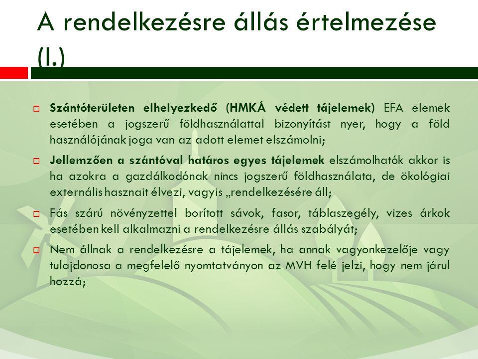 A rendelkezésre állás értelmezése (I.)  Szántóterületen elhelyezkedő (HMKÁ védett tájelemek) EFA elemek esetében a jogszerű földhasználattal bizonyít
