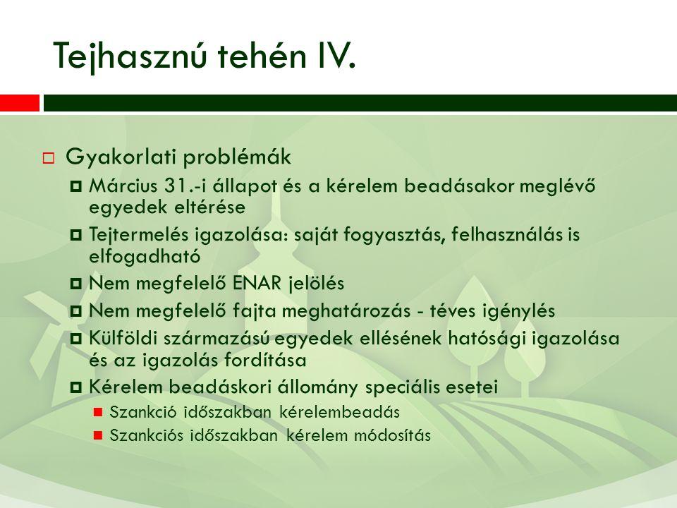 Tejhasznú tehén IV.  Gyakorlati problémák  Március 31.-i állapot és a kérelem beadásakor meglévő egyedek eltérése  Tejtermelés igazolása: saját fog