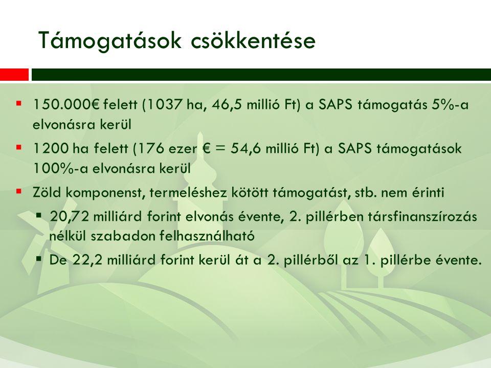 Támogatások csökkentése  150.000€ felett (1037 ha, 46,5 millió Ft) a SAPS támogatás 5%-a elvonásra kerül  1200 ha felett (176 ezer € = 54,6 millió F