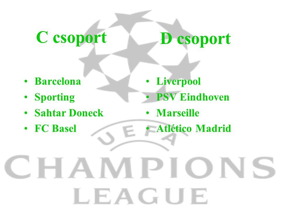 C csoport Barcelona Sporting Sahtar Doneck FC Basel Liverpool PSV Eindhoven Marseille Atlético Madrid D csoport