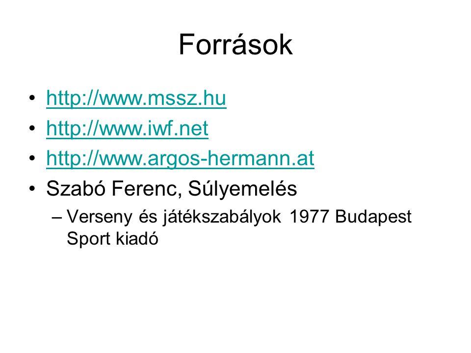 Források http://www.mssz.hu http://www.iwf.net http://www.argos-hermann.at Szabó Ferenc, Súlyemelés –Verseny és játékszabályok 1977 Budapest Sport kiadó
