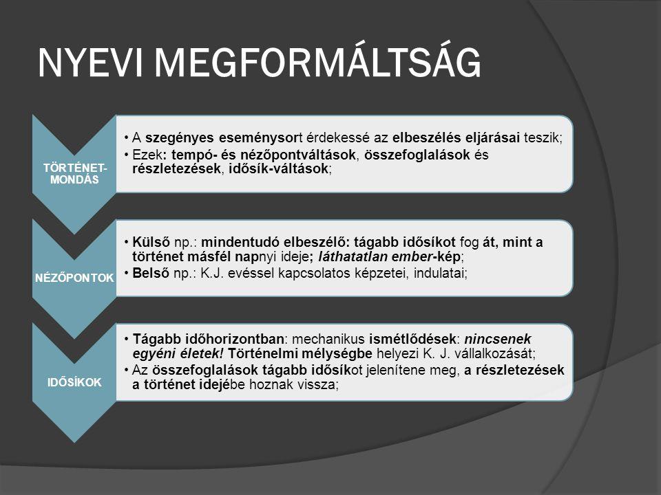 NYEVI MEGFORMÁLTSÁG TÖRTÉNET- MONDÁS A szegényes eseménysort érdekessé az elbeszélés eljárásai teszik; Ezek: tempó- és nézőpontváltások, összefoglalás