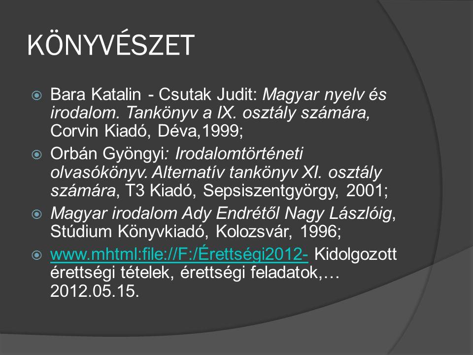 KÖNYVÉSZET  Bara Katalin - Csutak Judit: Magyar nyelv és irodalom. Tankönyv a IX. osztály számára, Corvin Kiadó, Déva,1999;  Orbán Gyöngyi: Irodalom