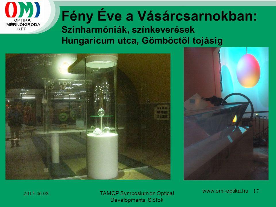 2015.06.08.TAMOP Symposium on Optical Developments, Siófok www.omi-optika.hu 17 Fény Éve a Vásárcsarnokban: Színharmóniák, színkeverések Hungaricum ut