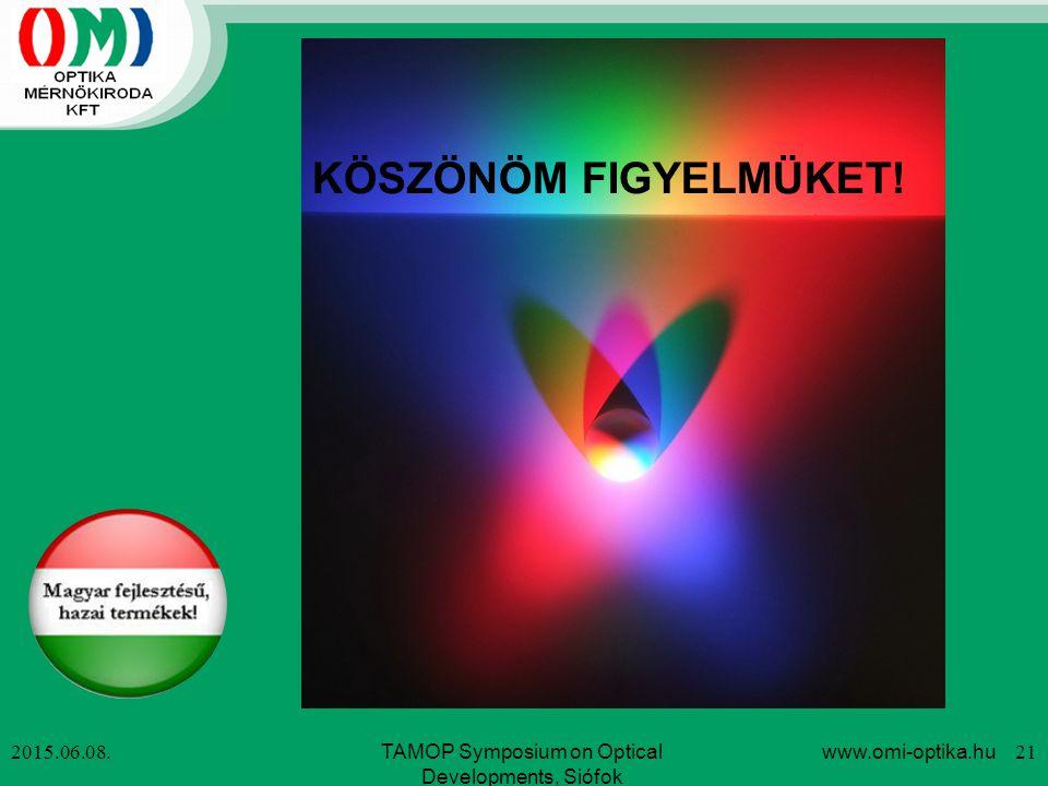 2015.06.08. KÖSZÖNÖM FIGYELMÜKET! TAMOP Symposium on Optical Developments, Siófok www.omi-optika.hu 21