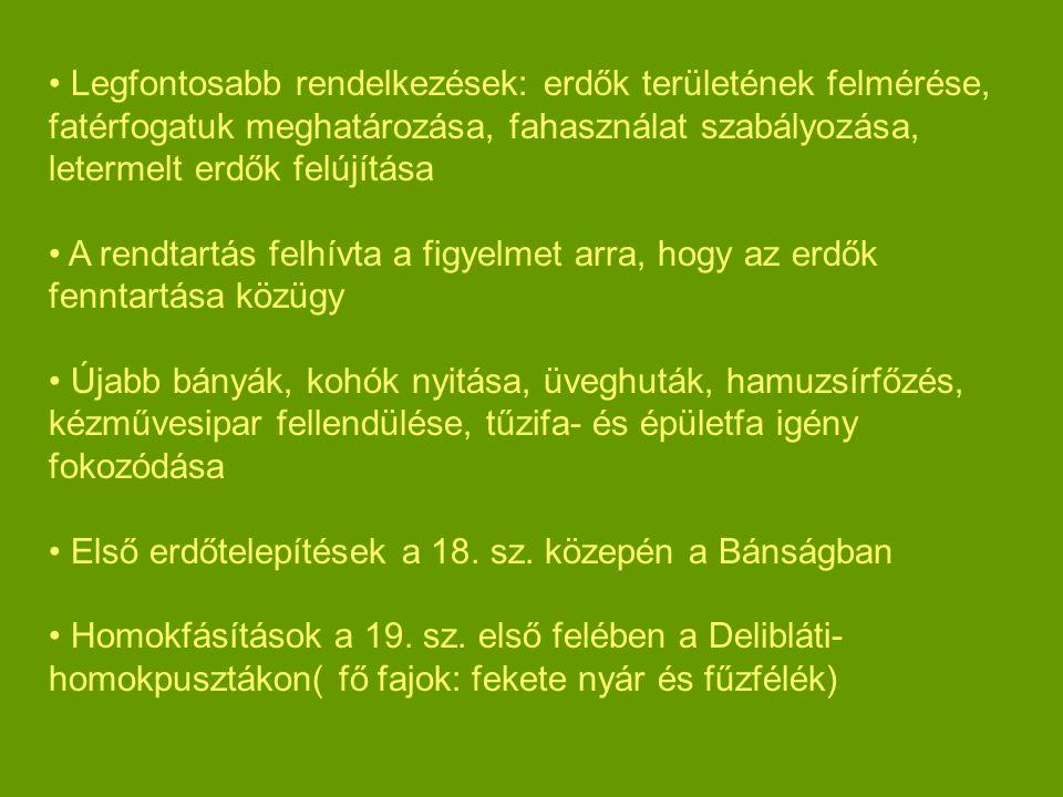 Legfontosabb rendelkezések: erdők területének felmérése, fatérfogatuk meghatározása, fahasználat szabályozása, letermelt erdők felújítása A rendtartás