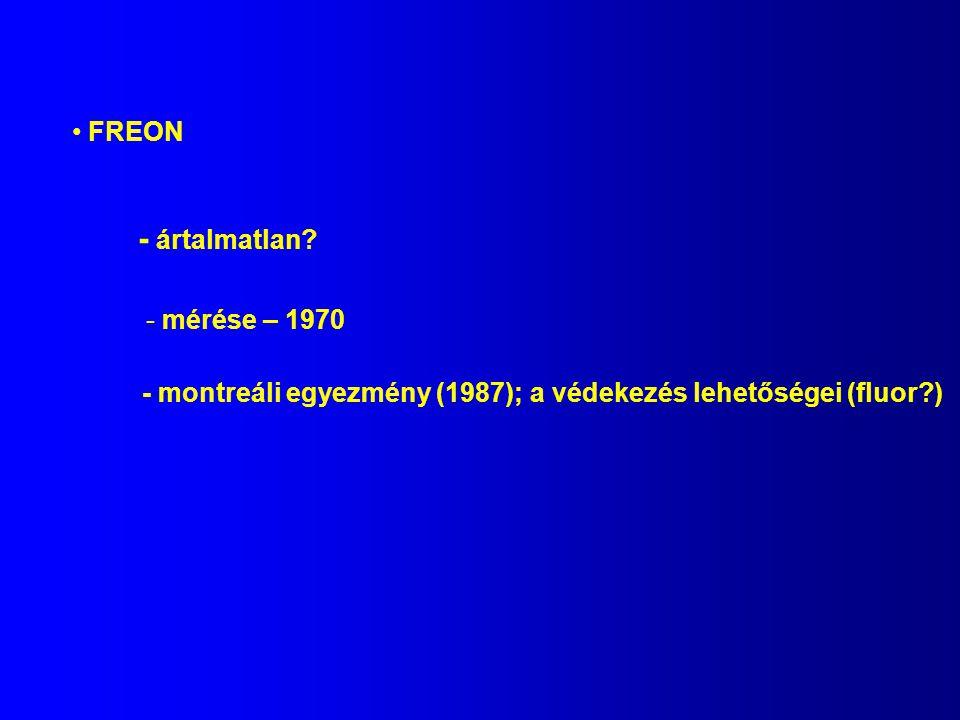 FREON - ártalmatlan? - mérése – 1970 - montreáli egyezmény (1987); a védekezés lehetőségei (fluor?)
