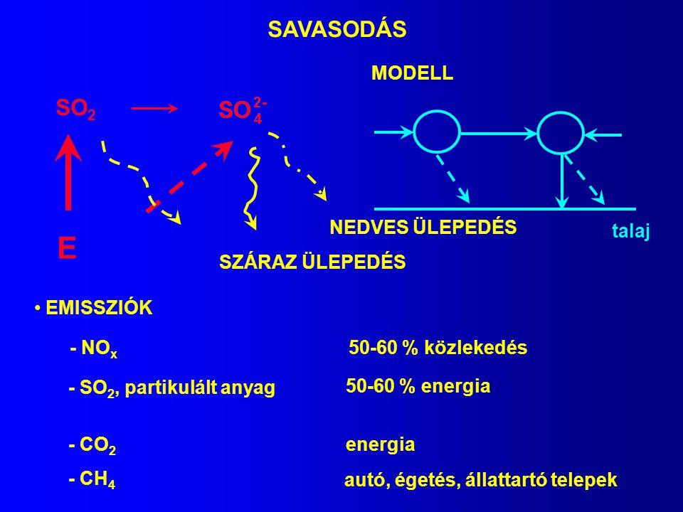 SAVASODÁS SO 2 SZÁRAZ ÜLEPEDÉS NEDVES ÜLEPEDÉS E MODELL talaj EMISSZIÓK - NO x - SO 2, partikulált anyag 50-60 % közlekedés 50-60 % energia - CO 2 ene