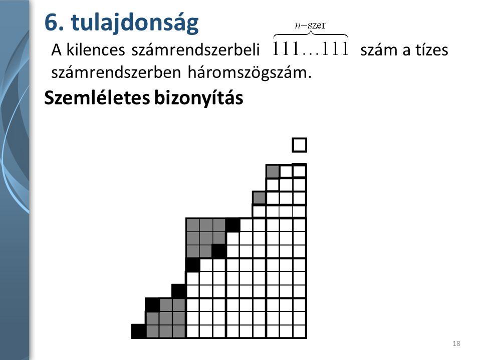 6. tulajdonság Szemléletes bizonyítás A kilences számrendszerbeli szám a tízes számrendszerben háromszögszám. 18