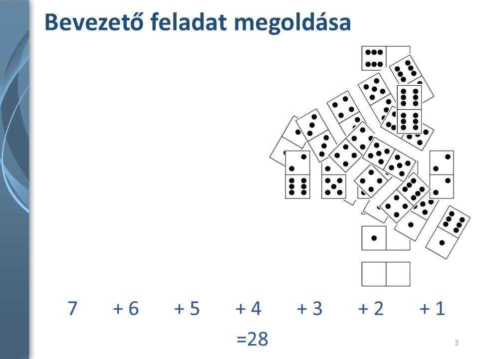 Bevezető feladat megoldása 3 7+ 6+ 5+ 4+ 3+ 2+ 1 =28