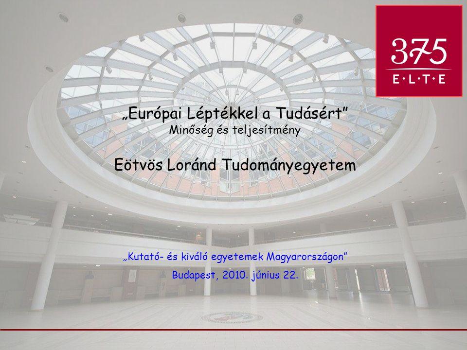 """""""Európai Léptékkel a Tudásért"""" Minőség és teljesítmény Eötvös Loránd Tudományegyetem """"Kutató- és kiváló egyetemek Magyarországon"""" Budapest, 2010. júni"""