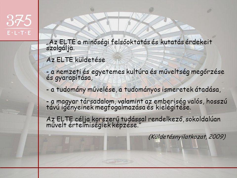 """""""Az ELTE a minőségi felsőoktatás és kutatás érdekeit szolgálja. Az ELTE küldetése - a nemzeti és egyetemes kultúra és műveltség megőrzése és gyarapítá"""