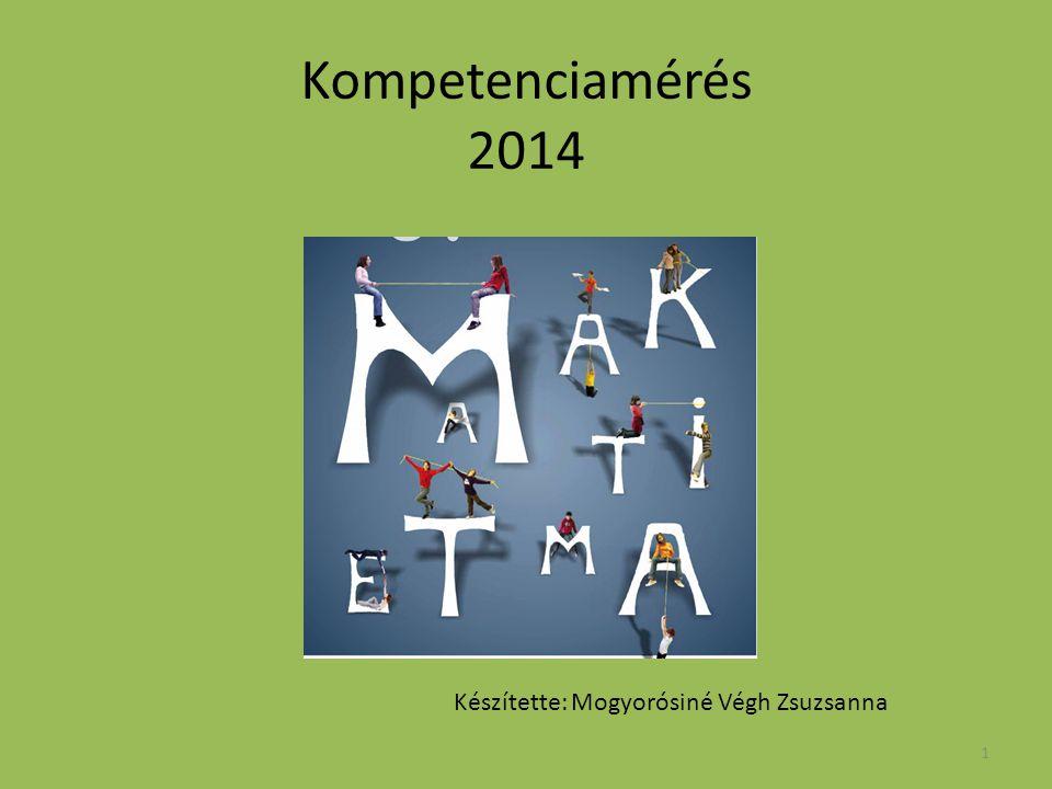 1 Kompetenciamérés 2014 Készítette: Mogyorósiné Végh Zsuzsanna