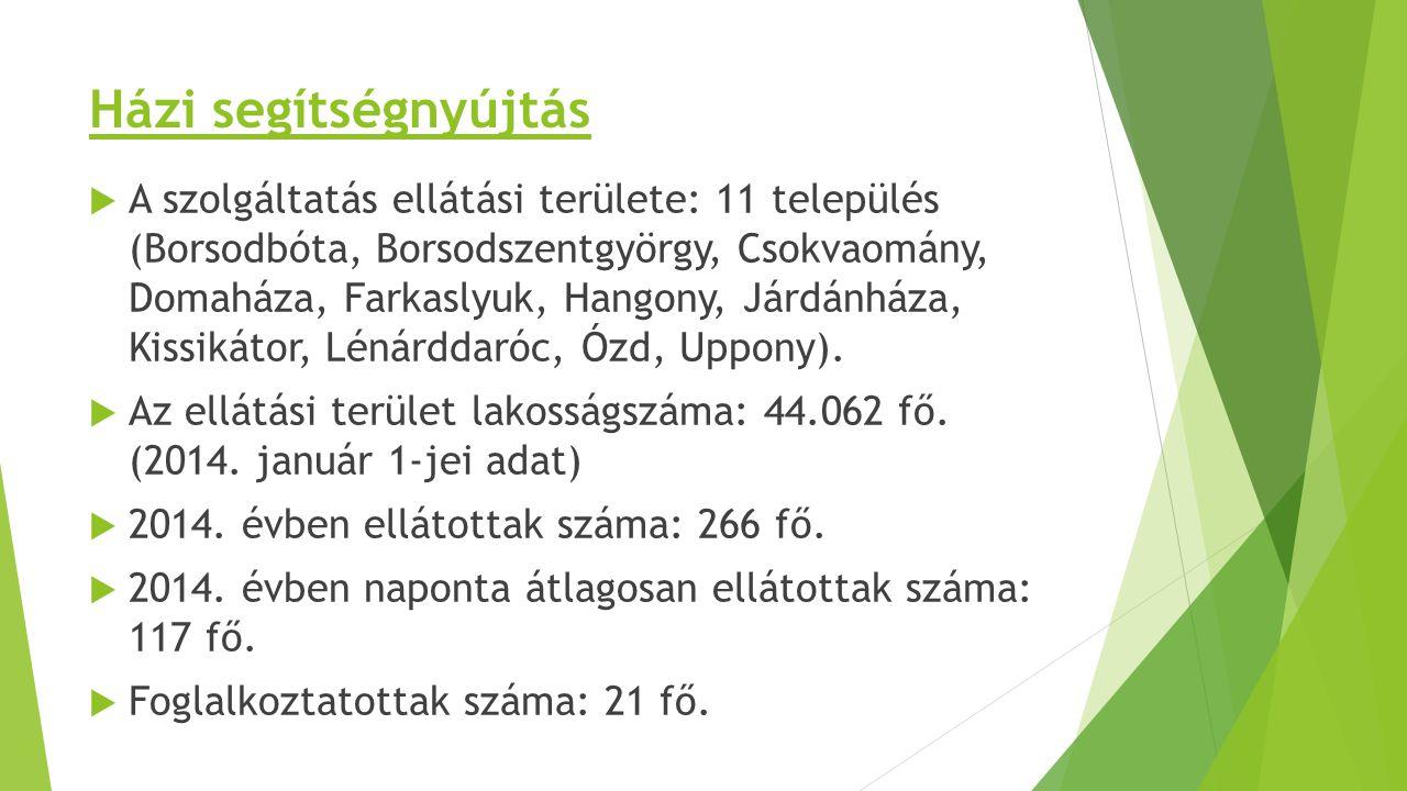 Házi segítségnyújtás  A szolgáltatás ellátási területe: 11 település (Borsodbóta, Borsodszentgyörgy, Csokvaomány, Domaháza, Farkaslyuk, Hangony, Járd