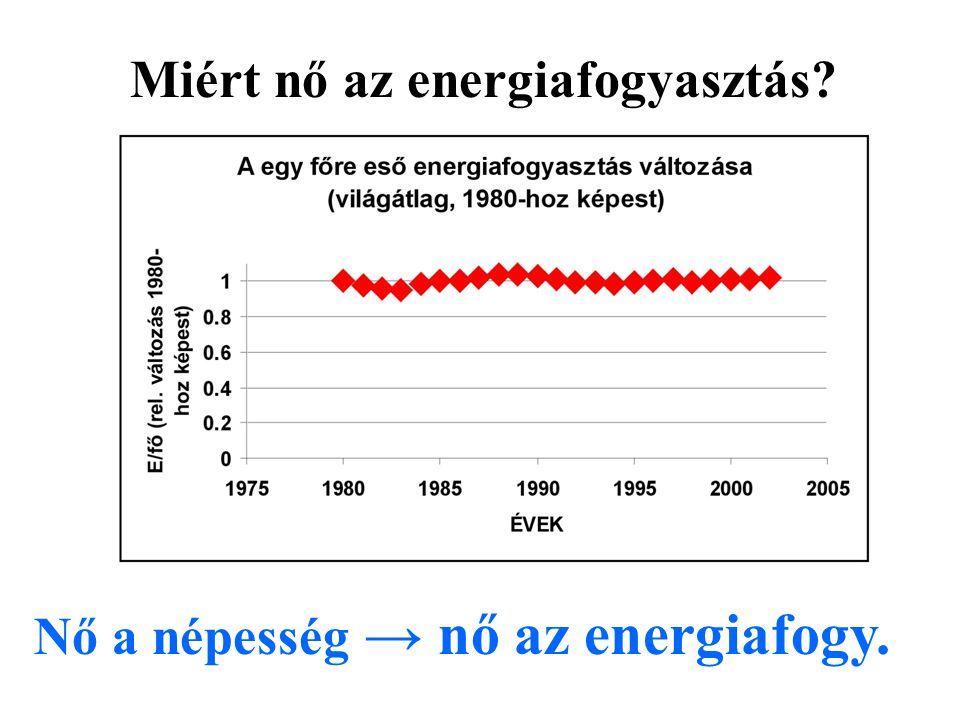 Nő a népesség → nő az energiafogy. Miért nő az energiafogyasztás?