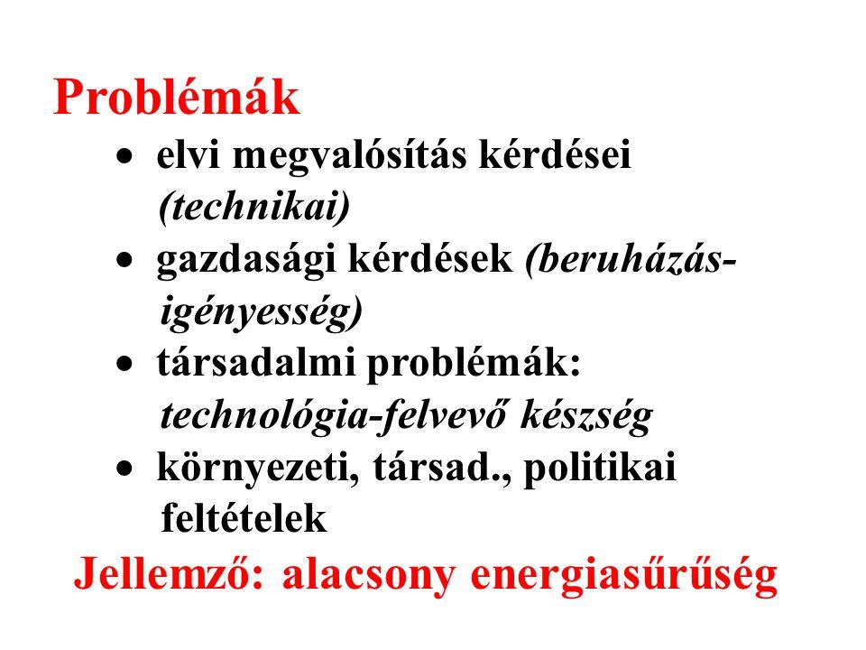 Problémák  elvi megvalósítás kérdései (technikai)  gazdasági kérdések (beruházás- igényesség)  társadalmi problémák: technológia-felvevő készség 