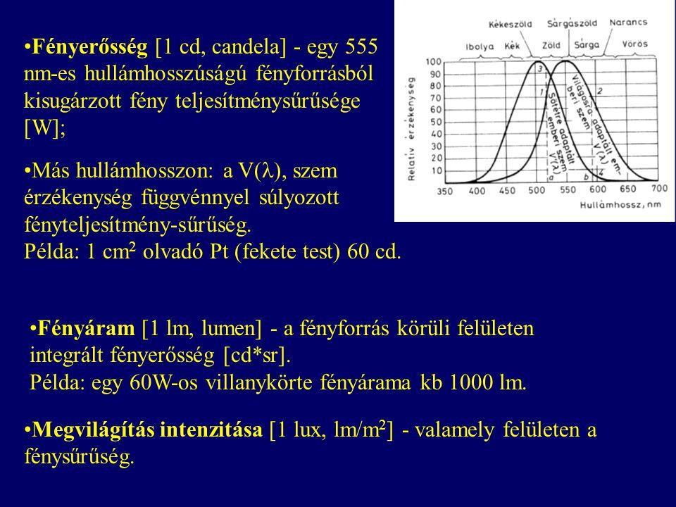 Fényerősség [1 cd, candela] - egy 555 nm-es hullámhosszúságú fényforrásból kisugárzott fény teljesítménysűrűsége [W]; Fényáram [1 lm, lumen] - a fényforrás körüli felületen integrált fényerősség [cd*sr].