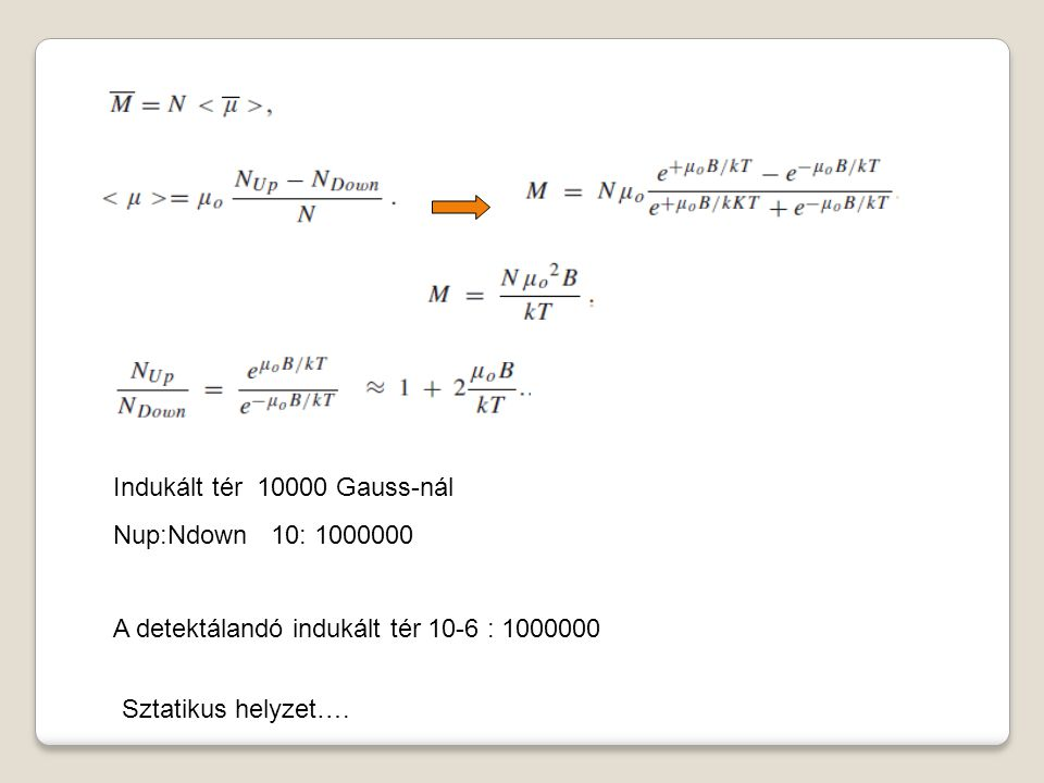 Indukált tér 10000 Gauss-nál Nup:Ndown 10: 1000000 A detektálandó indukált tér 10-6 : 1000000 Sztatikus helyzet….